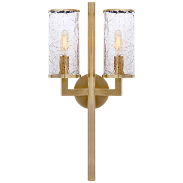 Liaison Double Sconce in Antique-Burnished Brass with Crackle Glass
