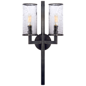 Liaison Double Sconce in Bronze with Crackle Glass