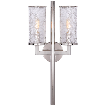 Liaison Double Sconce in Polished Nickel with Crackle Glass
