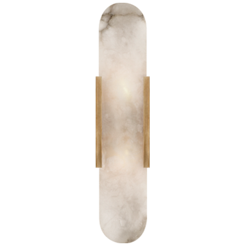 Melange Elongated Sconce in Antique-Burnished Brass with Alabaster
