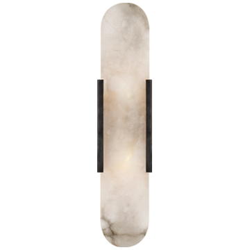 Melange Elongated Sconce in Bronze with Alabaster
