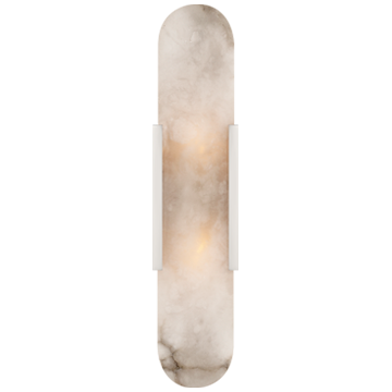 Melange Elongated Sconce in Polished Nicel with Alabaster