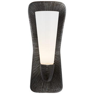 Utopia Large Single Bath Sconce in Aged Iron with White Glass