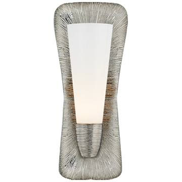 Utopia Large Single Bath Sconce in Polished Nickel with White Glass
