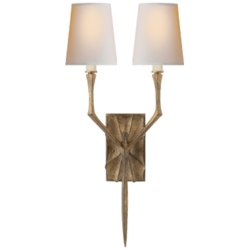 Bristol Small Sconce in Gilded Iron with Natural Paper Shades