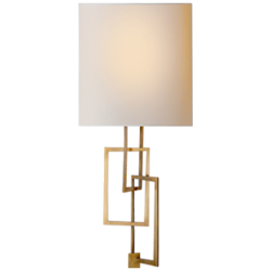 Cooper Sconce in Hand-Rubbed Antique Brass with Natural Paper Shade