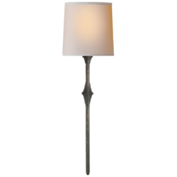 Dauphine Sconce in Aged Iron with Natural Paper Shade
