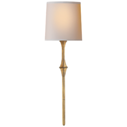 Dauphine Sconce in Gilded Iron with Natural Paper Shade