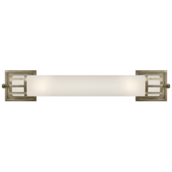 Openwork Long Sconce in Antique Nickel with Frosted Glass