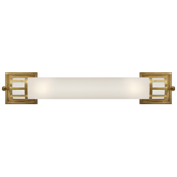 Openwork Long Sconce in Hand-Rubbed Antique Brass with Frosted Glass