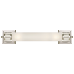 Openwork Long Sconce in Polished Nickel with Frosted Glass