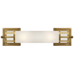 Openwork Medium Sconce in Hand-Rubbed Antique Brass with Frosted Glass