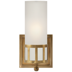 Openwork Single Sconce in Hand-Rubbed Antique Brass with Frosted Glass