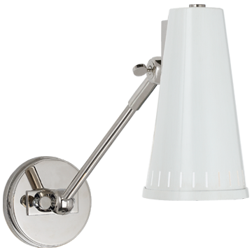 Antonio Adjustable One Arm Wall Lamp in Polished Nickel with Antique White Shade