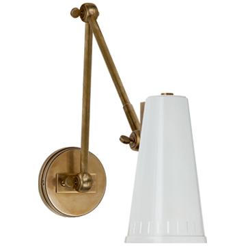 Antonio Adjustable Two Arm Wall Lamp in Hand-Rubbed Antique Brass with Antique White Shade
