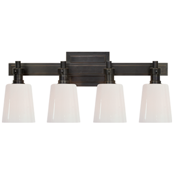 Bryant Four-Light Bath Sconce in Bronze with White Glass