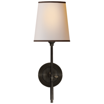 Bryant Sconce in Bronze with Natural Paper Shade and Black Tape