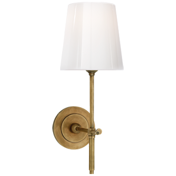 Bryant Sconce in Hand-Rubbed Antique Brass with White Glass Shade