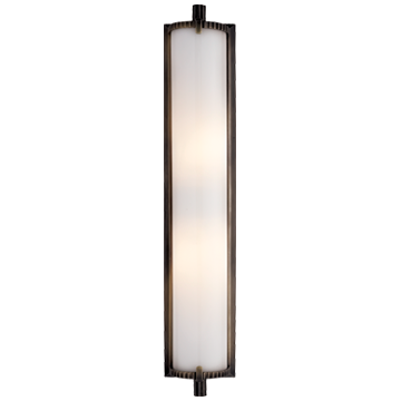 Calliope Tall Bath Light in Bronze with White Glass