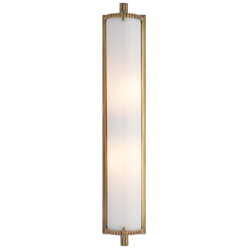 Calliope Tall Bath Light in Hand-Rubbed Antique Brass with White Glass