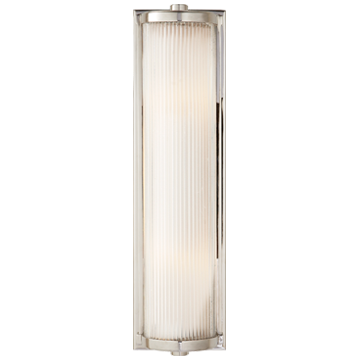 Dresser Long Glass Rod Light in Polished Nickel with Frosted Glass Liner