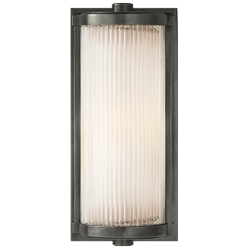 Dresser Short Glass Rod Light in Bronze with Frosted Glass Liner