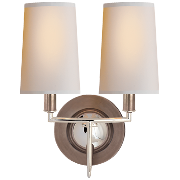 Elkins Double Sconce in Antique Nickel and Polished Nickel with Natural Paper Shades