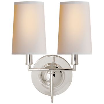 Elkins Double Sconce in Polished Silver with Natural Paper Shades