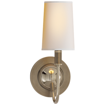 Elkins Sconce in Antique Nickel and Polished Nickel with Natural Paper Shade