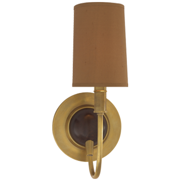 Elkins Sconce in Hand-Rubbed Antique Brass and Chocolate Wood Finish with Fawn Silk Shade