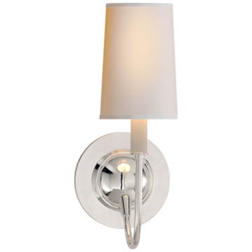 Elkins Sconce in Polished Silver with Natural Paper Shade