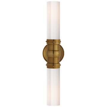 Graydon Double Bath Light in Hand-Rubbed Antique Brass with White Glass