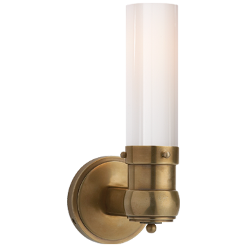 Graydon Single Bath Light in Hand-Rubbed Antique Brass with White Glass