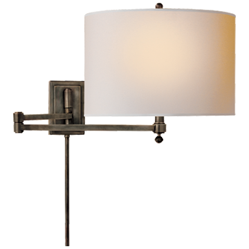 Hudson Swing Arm in Bronze with Natural Paper Shade