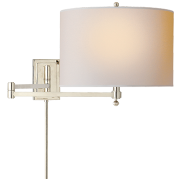 Hudson Swing Arm in Polished Nickel with Natural Paper Shade