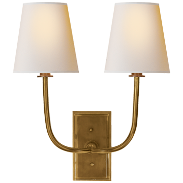 Hulton Double Sconce in Hand-Rubbed Antique Brass with Natural Paper Shades