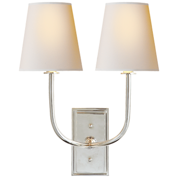 Hulton Double Sconce in Polished Nickel with Natural Paper Shades