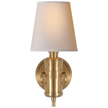 Jonathan Sconce in Hand-Rubbed Antique Brass with Natural Paper Shade