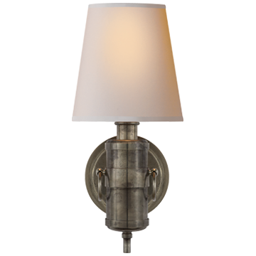 Jonathan Sconce in Sheffield Silver with Natural Paper Shade