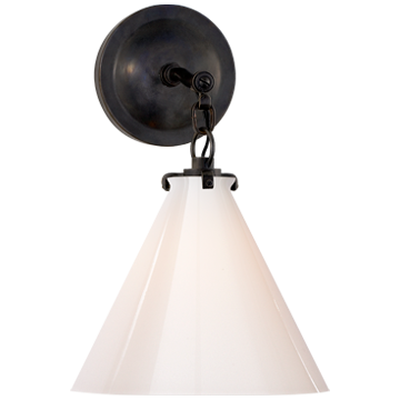 Katie Small Conical Sconce in Bronze with White Glass