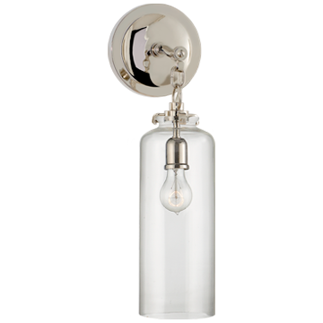 Katie Small Cylinder Sconce in Polished Nickel with Clear Glass