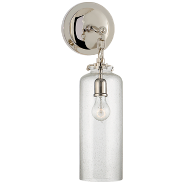 Katie Small Cylinder Sconce in Polished Nickel with Seeded Glass