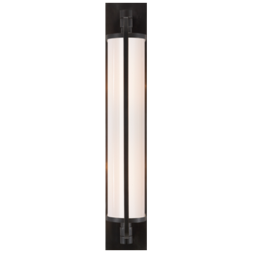 Keeley Tall Pivoting Sconce in Bronze with White Glass