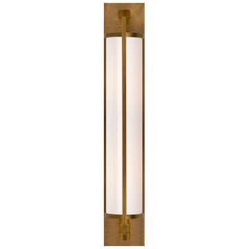 Keeley Tall Pivoting Sconce in Hand-Rubbed Antique Brass with White Glass