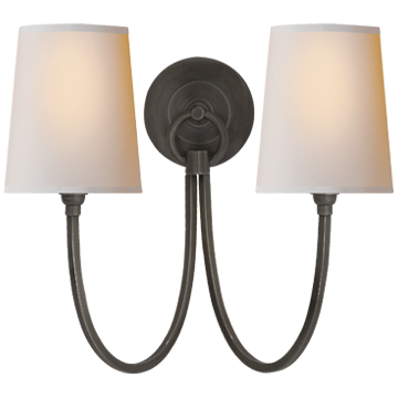 Reed Double Sconce in Bronze with Natural Paper Shades
