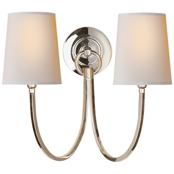 Reed Double Sconce in Polished Nickel with Natural Paper Shades