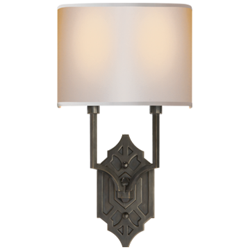 Silhouette Fretwork Sconce in Bronze with Natural Paper Shade