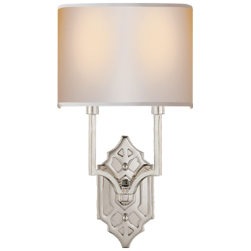 Silhouette Fretwork Sconce in Polished Nickel with Natural Paper Shade