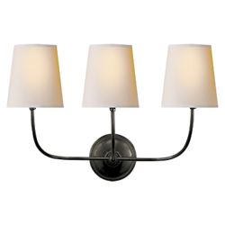 Vendome Triple Sconce in Bronze with Natural Paper Shades