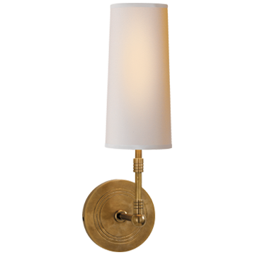 Ziyi Sconce in Hand-Rubbed Antique Brass with Natural Paper Shade